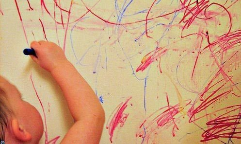how to get crayon off outside walls